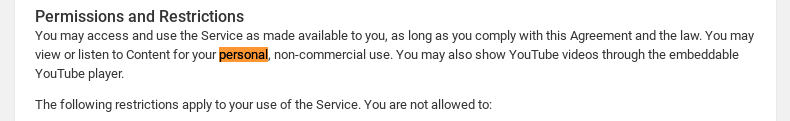 YouTube terms for personal use
